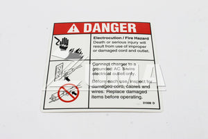 DECAL,DANGER,ELECT HAZARD,PLUG (Genie Part # 31508GT OR 31508)