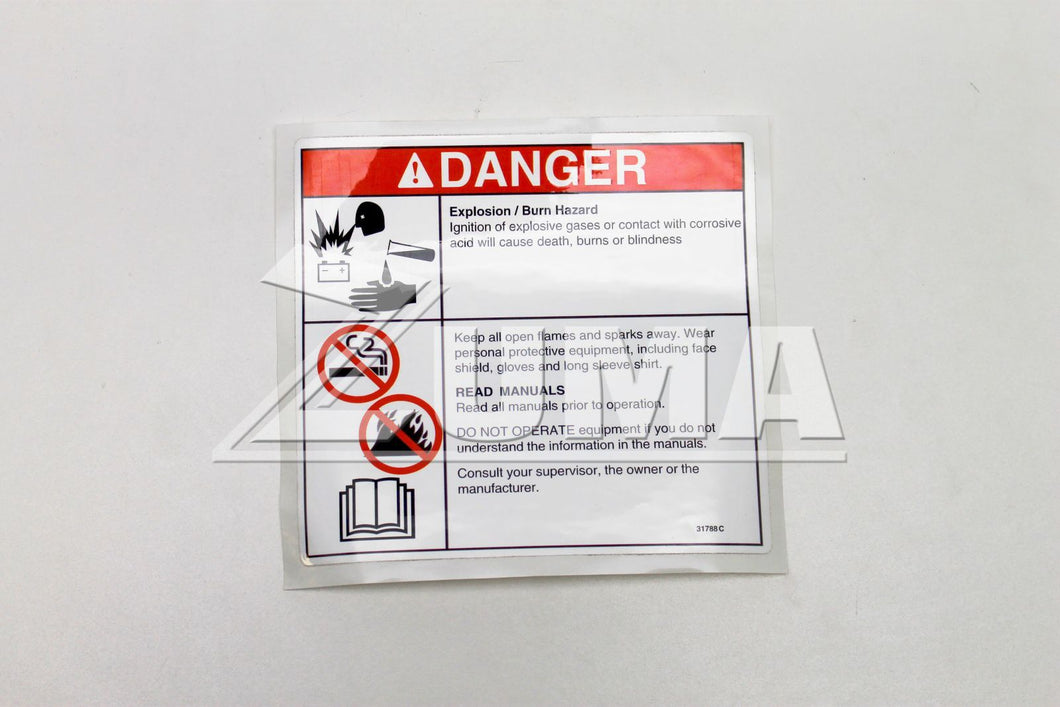 DECAL,DANGER,BATTERY SAFETY*** (Genie Part # 31788GT OR 31788)