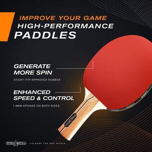 4-Player Table Tennis Paddles & Balls Set