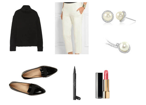 f819f1ca66ddf ... and white cigarette trousers plus some pointed black loafers makes a  perfectly casual yet stylish look. Add some nude pink lips and a flick of  liquid ...
