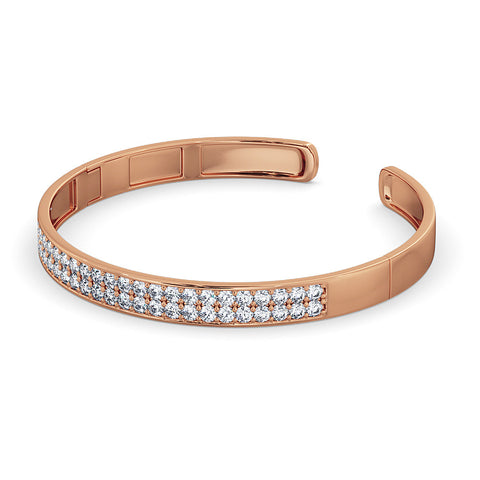 Diamond Bangle Cuff - Rose Gold