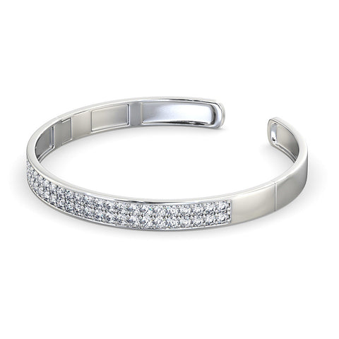 Diamond Bangle Cuff - White Gold