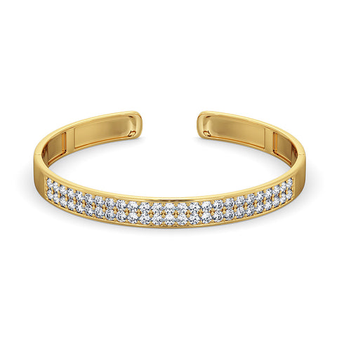 Diamond Bangle Cuff - Yellow Gold