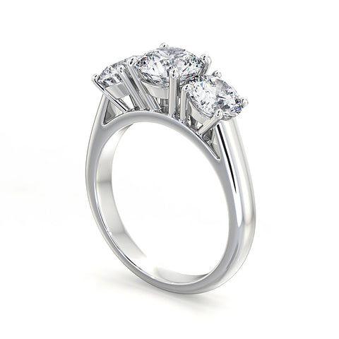 Round Diamond Trilogy Engagment Ring - DuttsonRocks