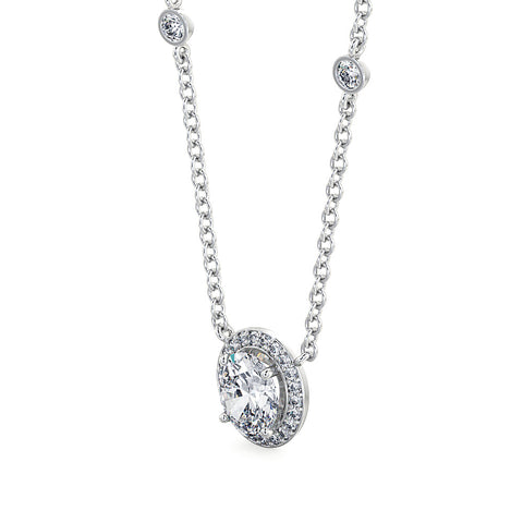 Oval Diamond Halo with Diamonds in chain