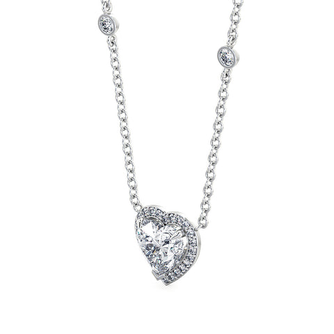 Diamond Heart Halo Pendant