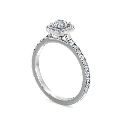 Vintage Cushion Cut Diamond Halo Ring - DuttsonRocks