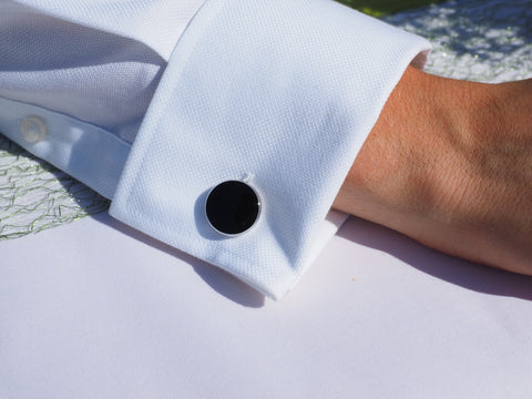 Black enamel Cufflinks - DuttsonRocks