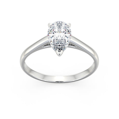 Pear Cut single stone Engagement Ring