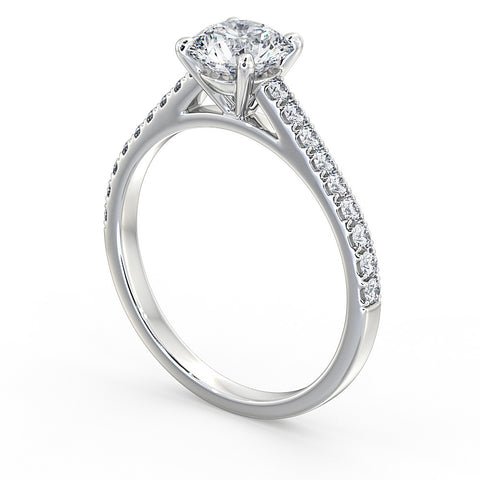 Round Brilliant Diamond Ring set with Diamond Shoulders