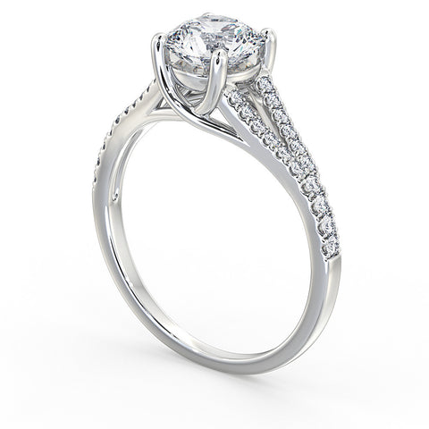 Round brilliant Cut Diamond Split Shank Ring