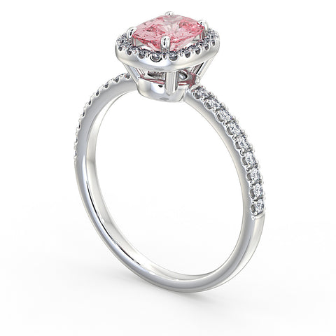 Pink Diamond Halo Ring