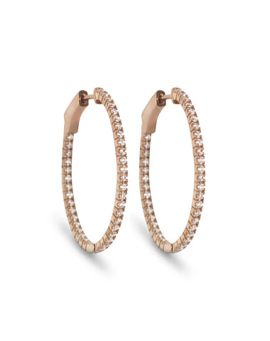 Diamond Hoop earrings - Rose Gold