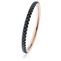Black diamond Rose gold stacking ring - DuttsonRocks