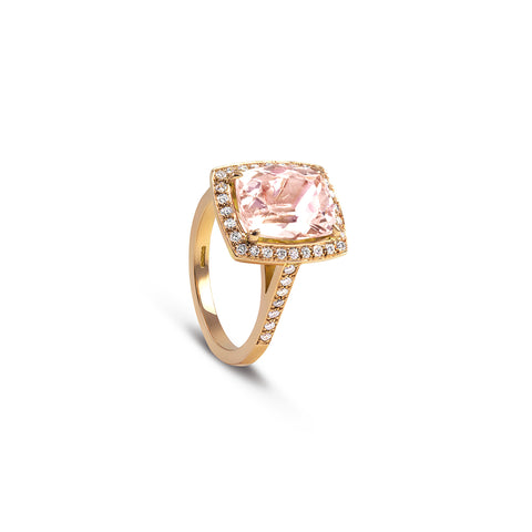 Morganite & Diamond Cocktail Ring - DuttsonRocks
