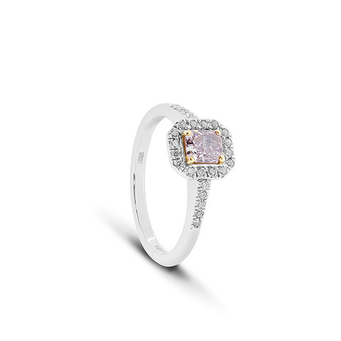 Pink Radiant Cut Diamond Vintage Ring