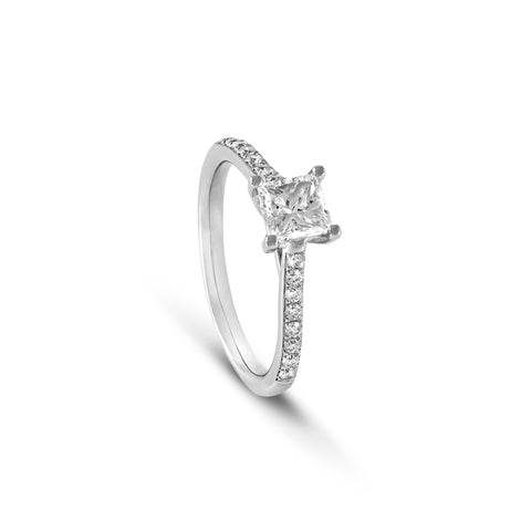 Princess Cut Engagement Ring with diamond band