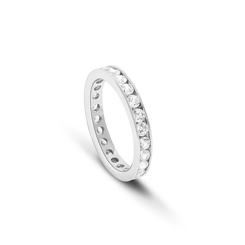 Channel set Diamond Eternity ring set in 18 carat White gold