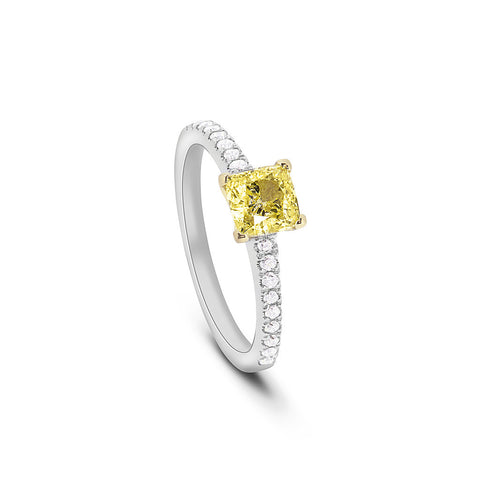 Cushion Cut Yellow Diamond Ring