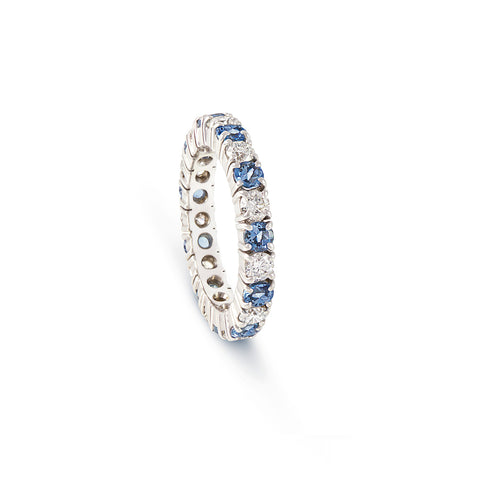 Aquamarine & Diamond Full Eternity Ring - DuttsonRocks