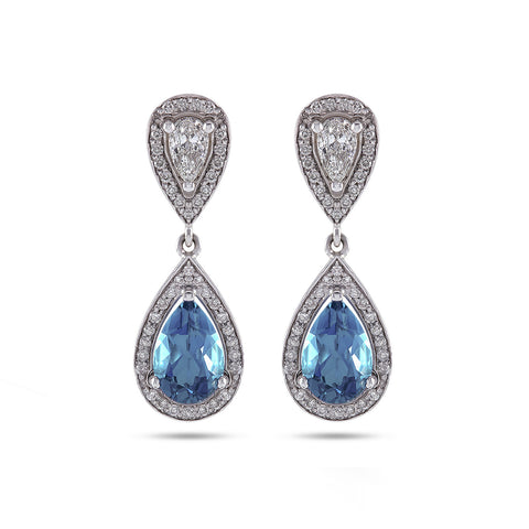 Vintage Style Aquamarine & Diamond Earrings