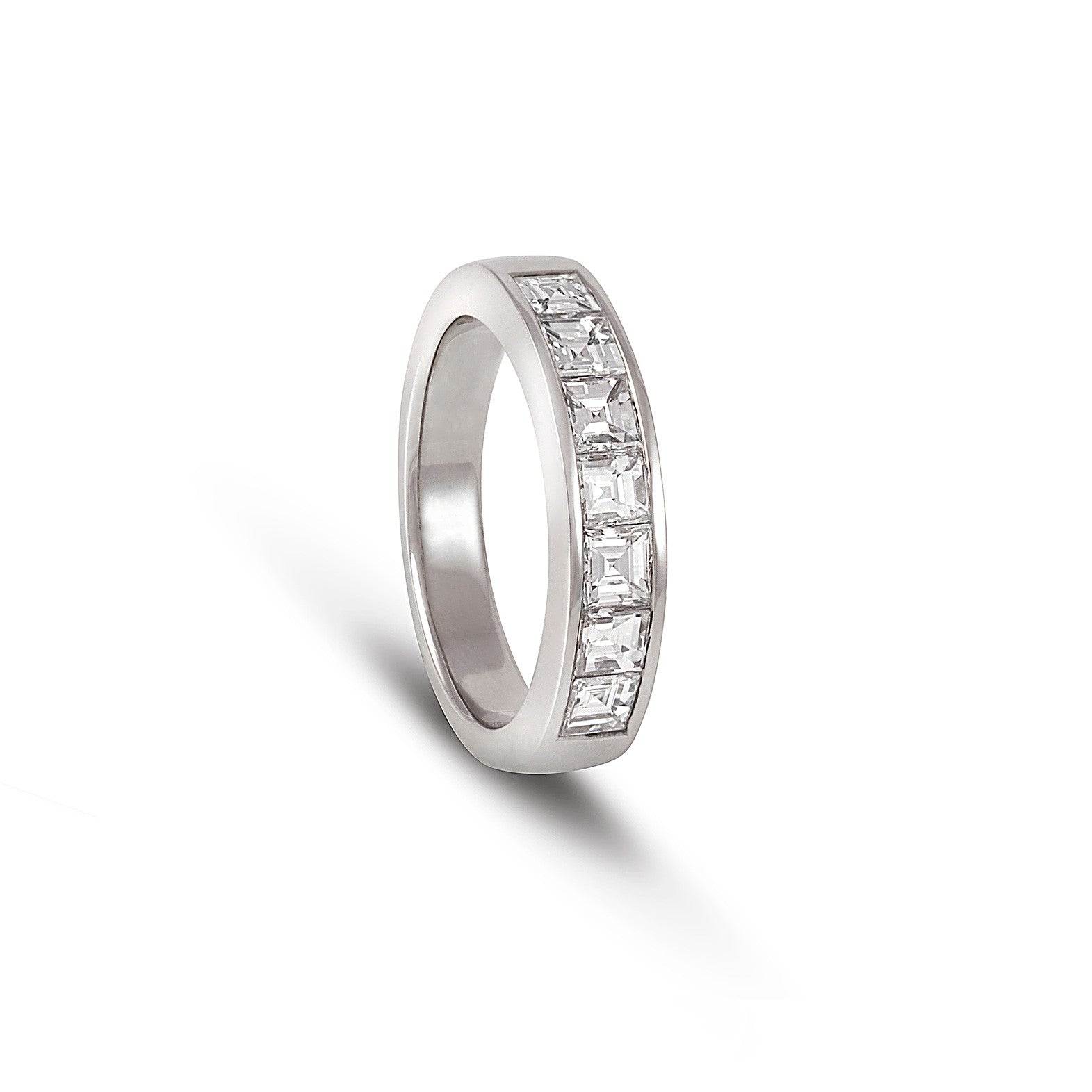 emerald cut diamond ring eternity with bands solitaire shoulders product band set trinity
