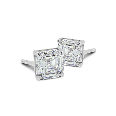 Asscher Cut Diamond Studs - DuttsonRocks