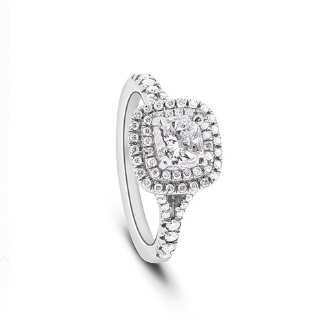 'Crown of Light' Cushion cut Diamond Ring