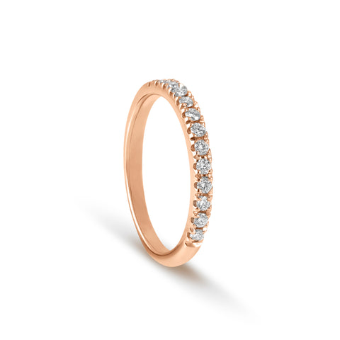 18 carat Rose Gold half Round Brilliant Cut Diamond Ring