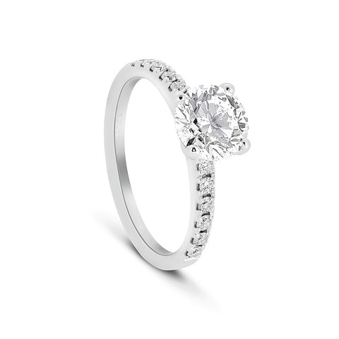 Round Brilliant cut Diamond ring with micro pavé band