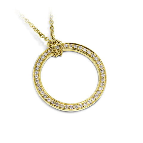 Infinity Yellow Gold & Diamond Necklace