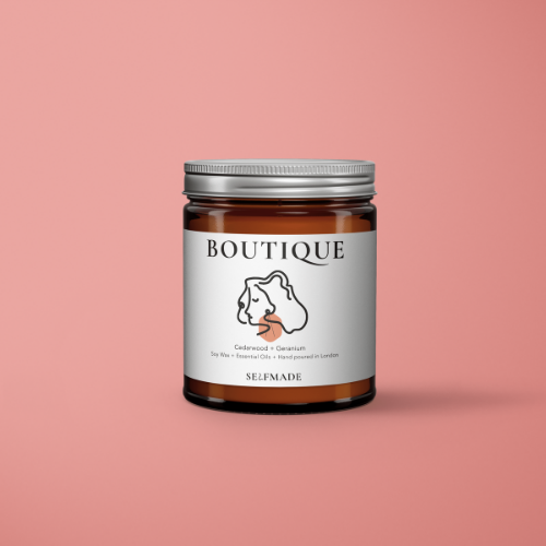 BOUTIQUE Soy Wax Scented Candle - Cedarwood + Geranium