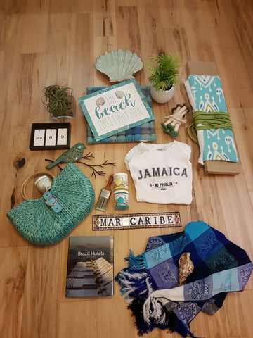 a flat lay product grouping of Beach related products and paint