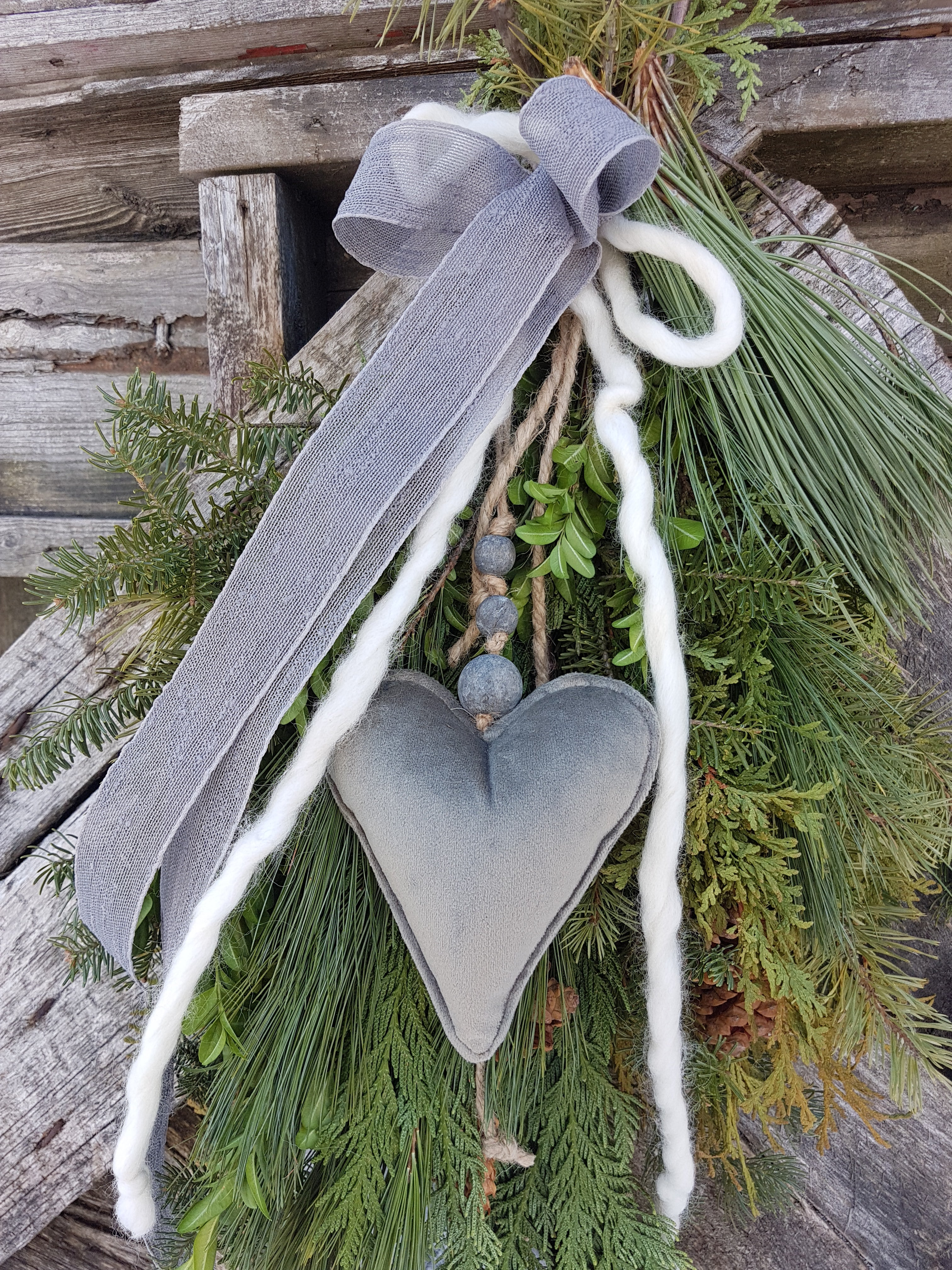 Evergreen spray with heart