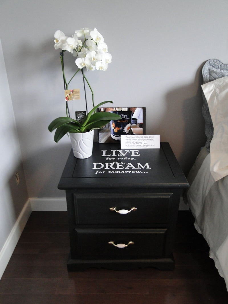 Painted Nightstand with 2 drawers, mdf.