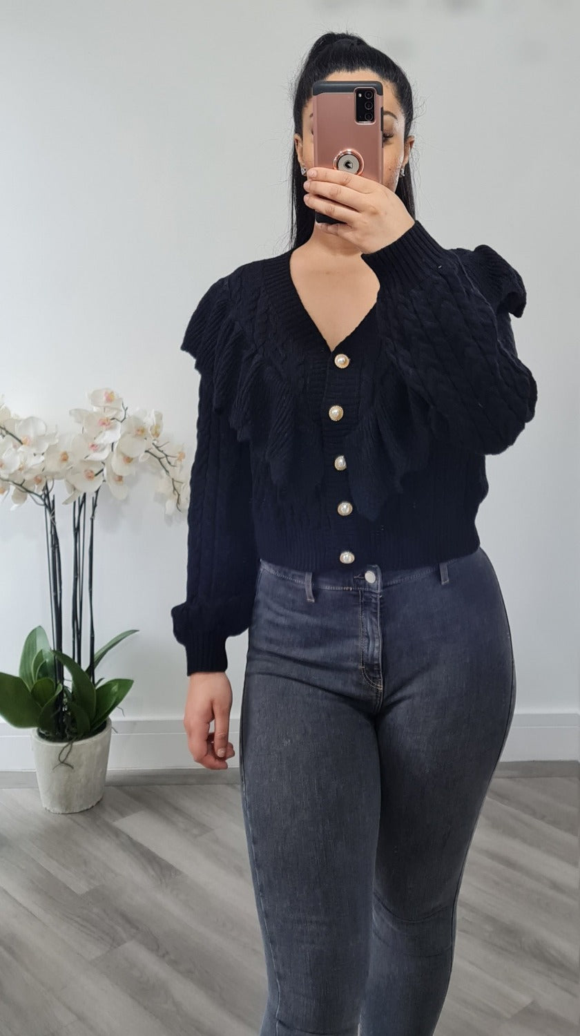 Button cardigan with frill detail
