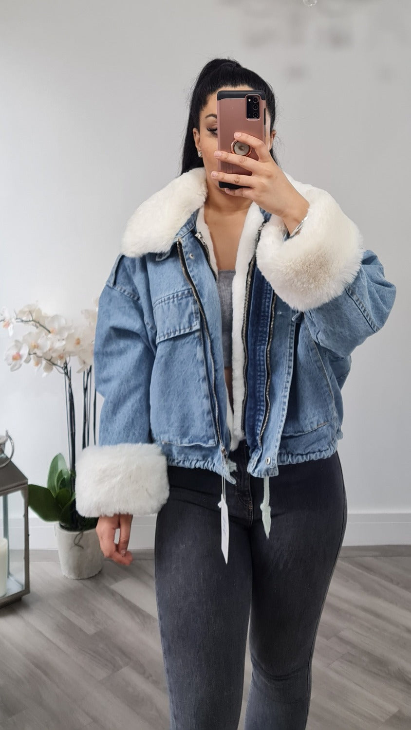 Blue Denim jacket with cream fur