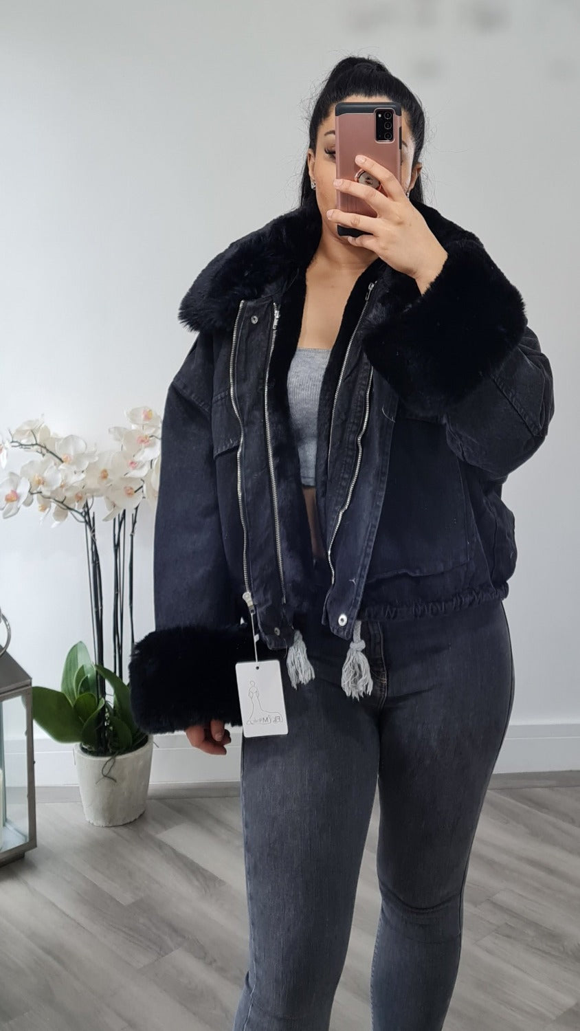 Denim jacket with black fur