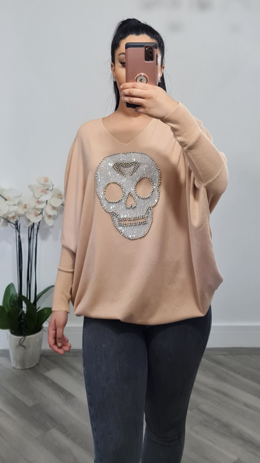 Skull stud knitted jumper