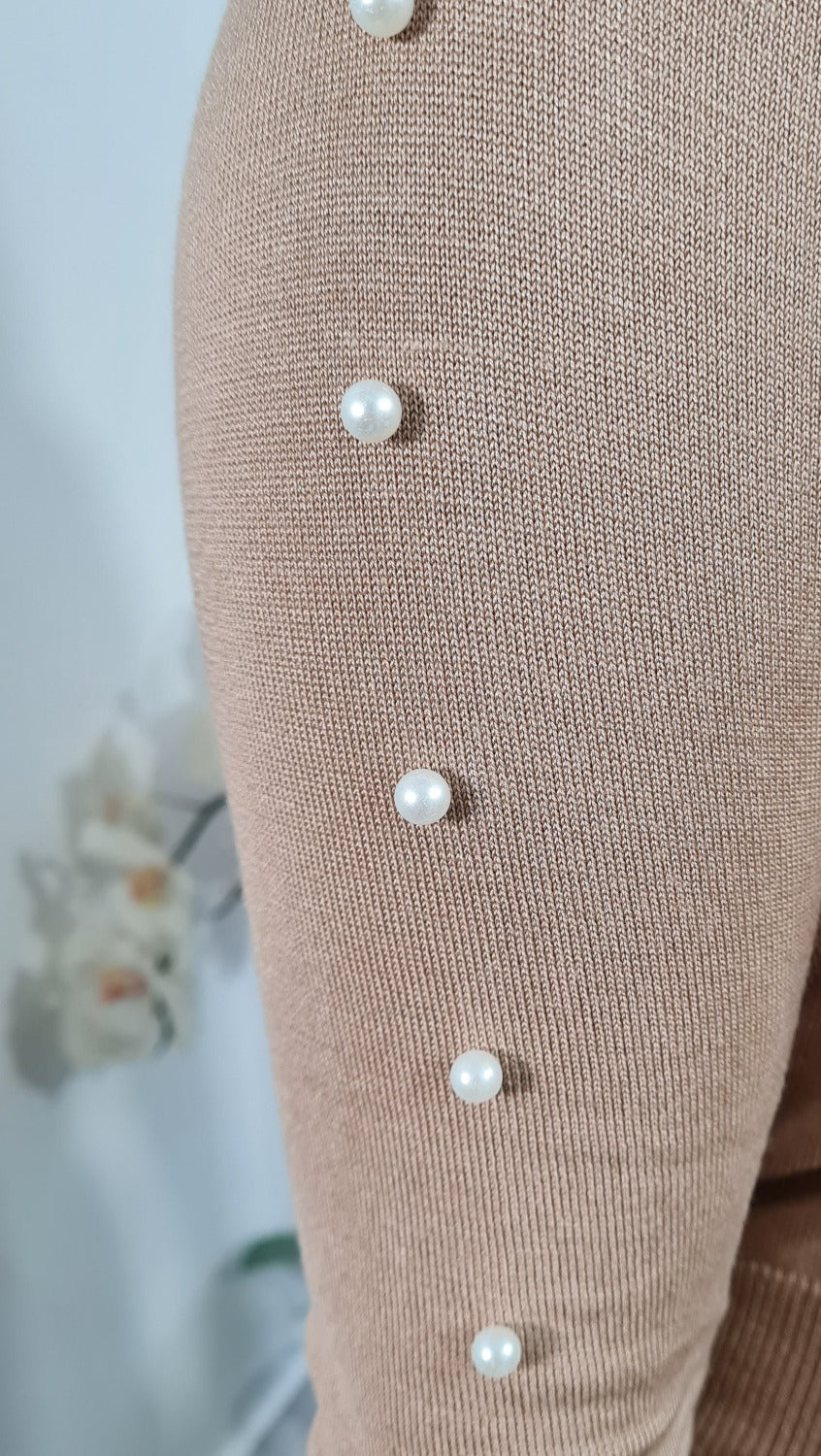 Chiffon and Pearl detail loungewear set