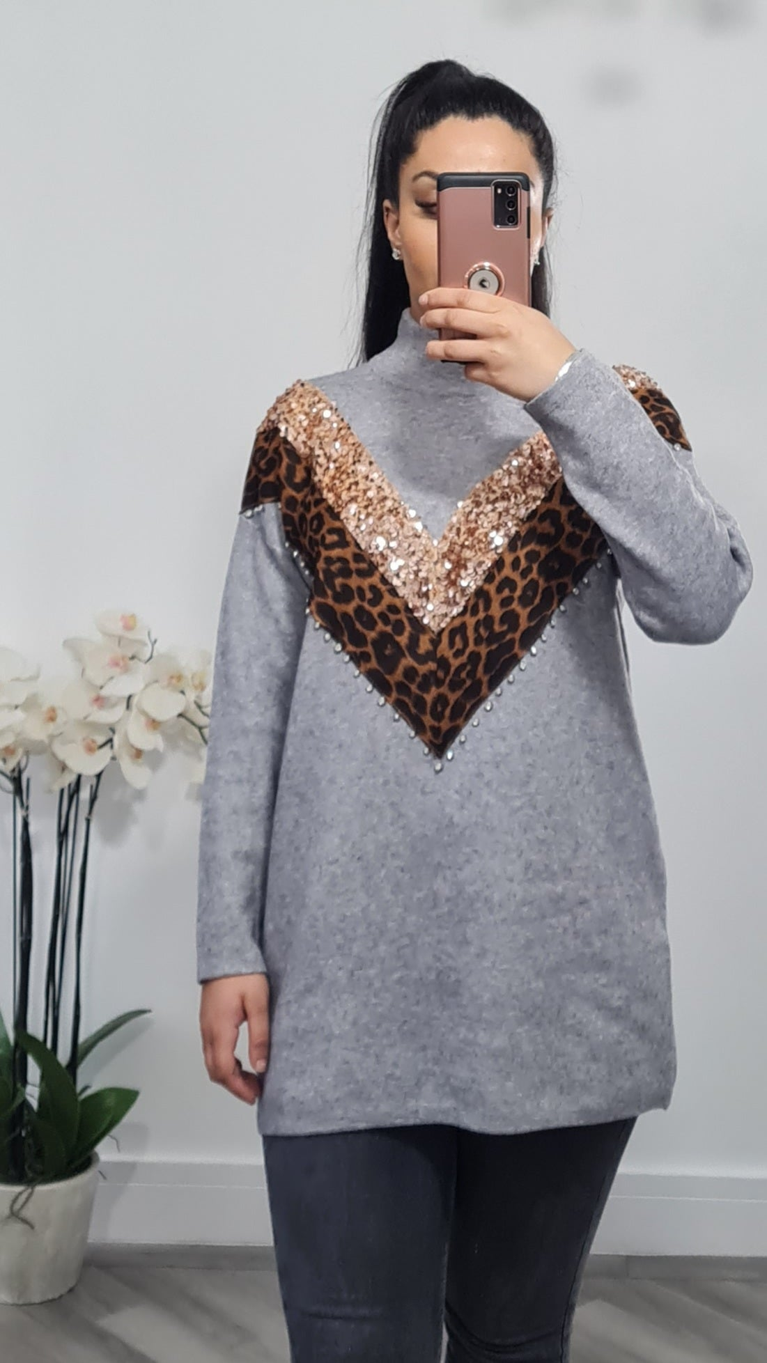 Turtle neck oversized sequin jumper