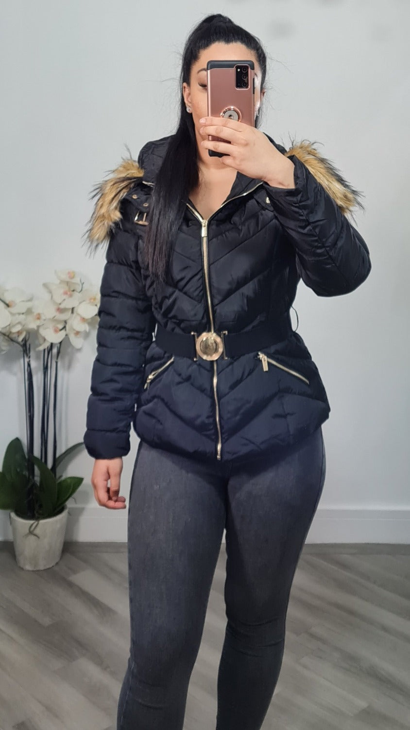 Gold zip and belt buckle puffer jacket