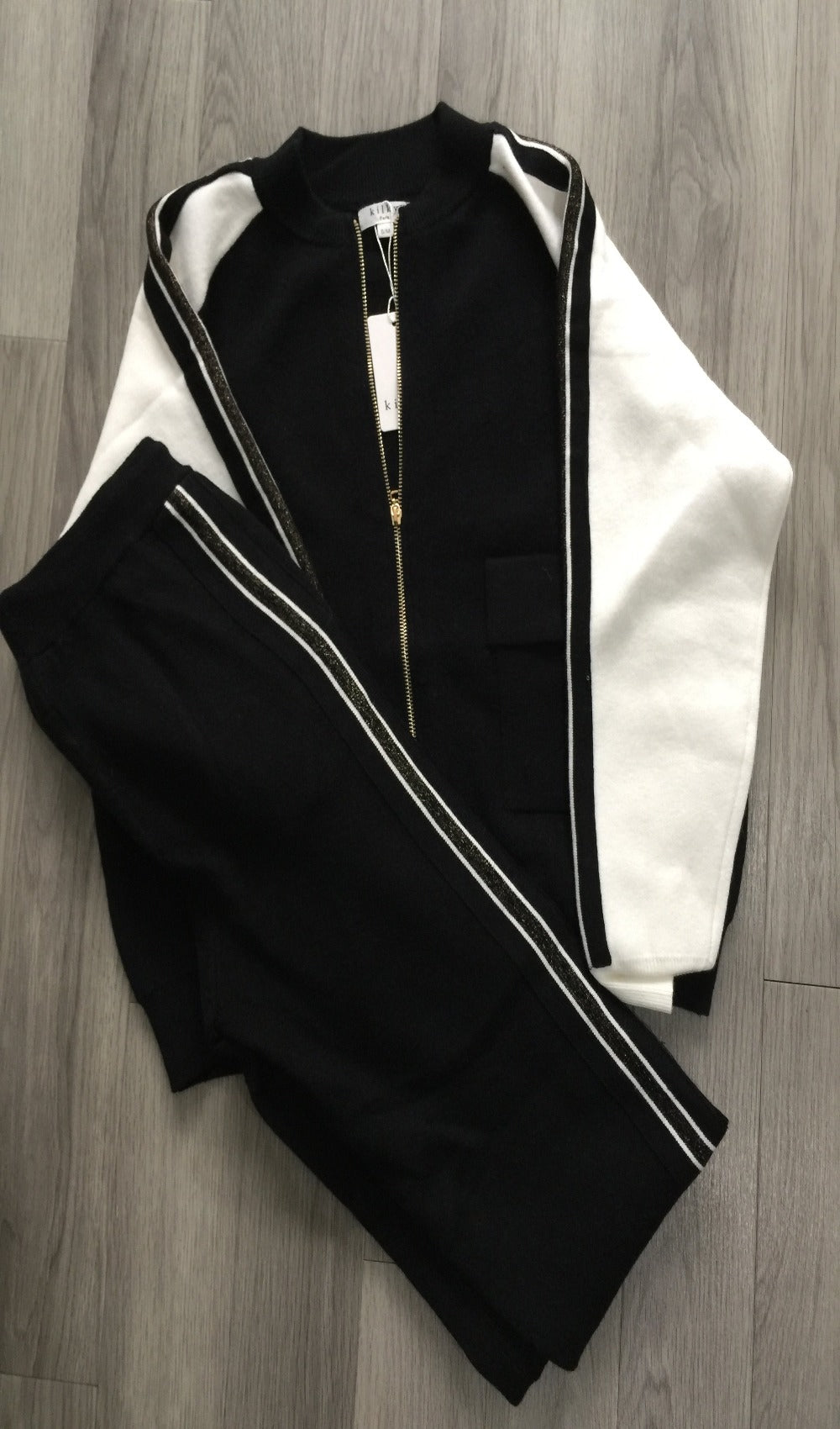 Sparkly gold stripe Zip two piece tracksuit
