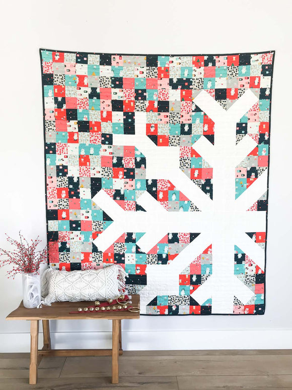 Snowflake Lap Pre-Cut Quilt Kit by Modern Handcraft + BACKING