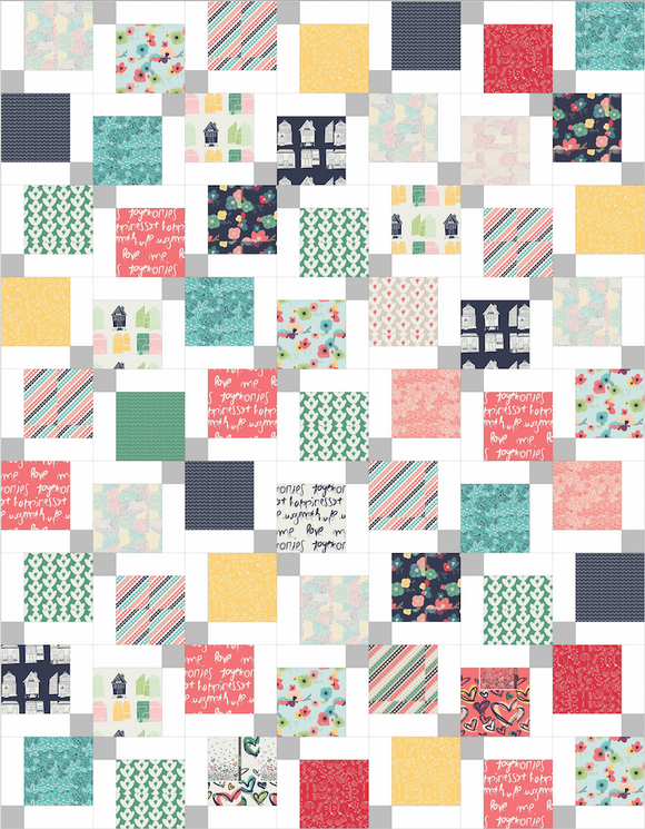 Twisted Nine Lap Pre-Cut Quilt Kit in Happy Home