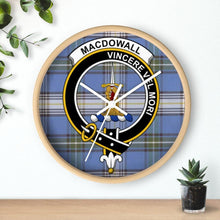Load image into Gallery viewer, Clan MacDowall Scottish Tartan Crest Wall Clock