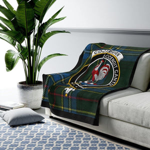Clan Cockburn Scottish Tartan Crest Blanket