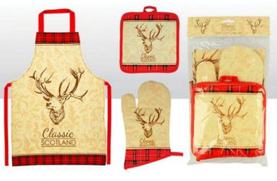 Classic Scotland Stag Oven Mitt, Pot, Apron Set - Living Stone Gifts
