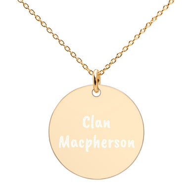 Clan Macpherson Scottish Engraved Silver Disc Necklace - Living Stone Gifts