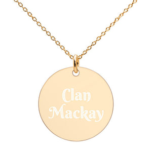 Clan Mackay Scottish Engraved Silver Disc Necklace